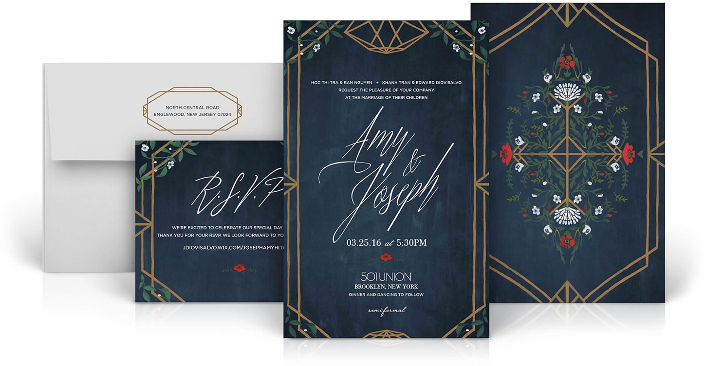 Vietnam inspired Brooklyn wedding invitation
