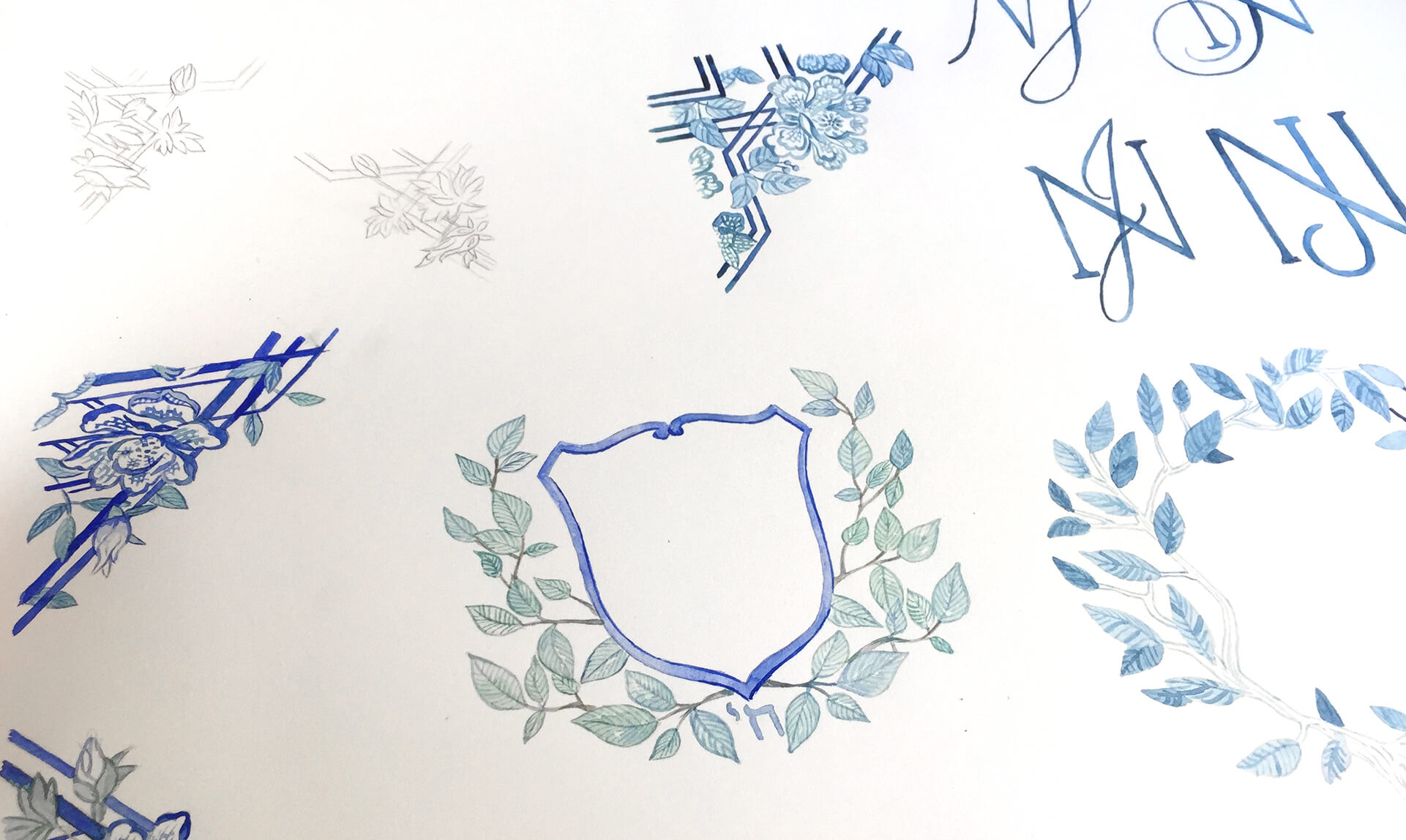 Watercolor process for crest and design elements