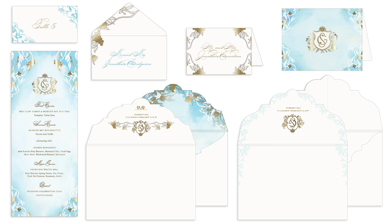 Watercolor and foil menu, place card, thank you card and envelopes