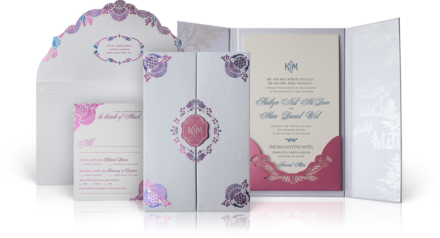 Ballantyne Hotel wedding invitation