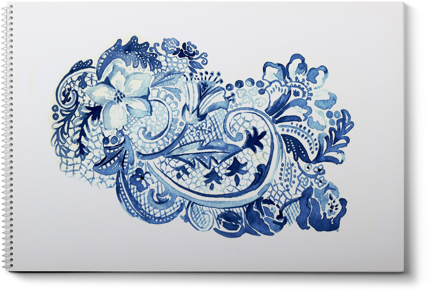 Blue and white watercolor painting