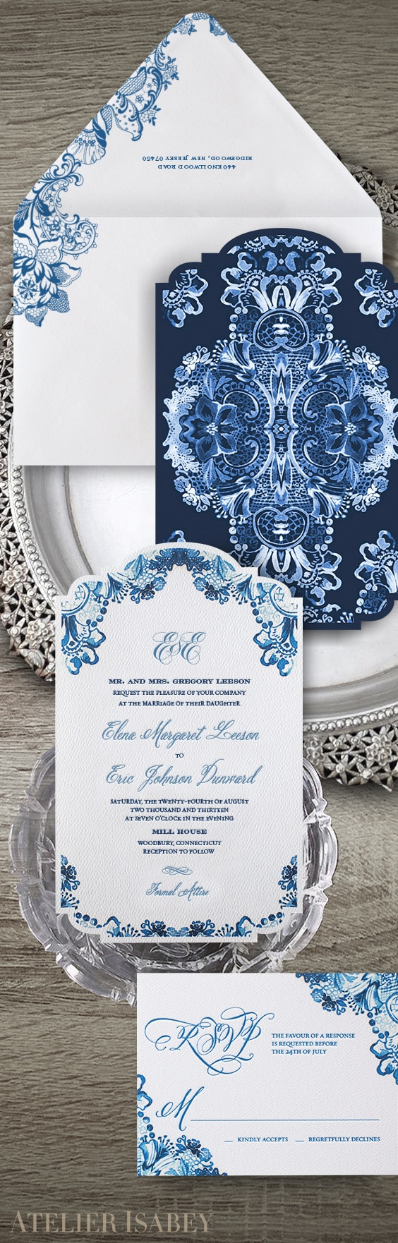 Blue and white watercolor lace wedding invitation | By Atelier Isabey