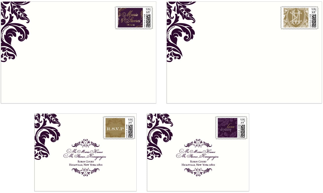 Envelope and custom stamp designs