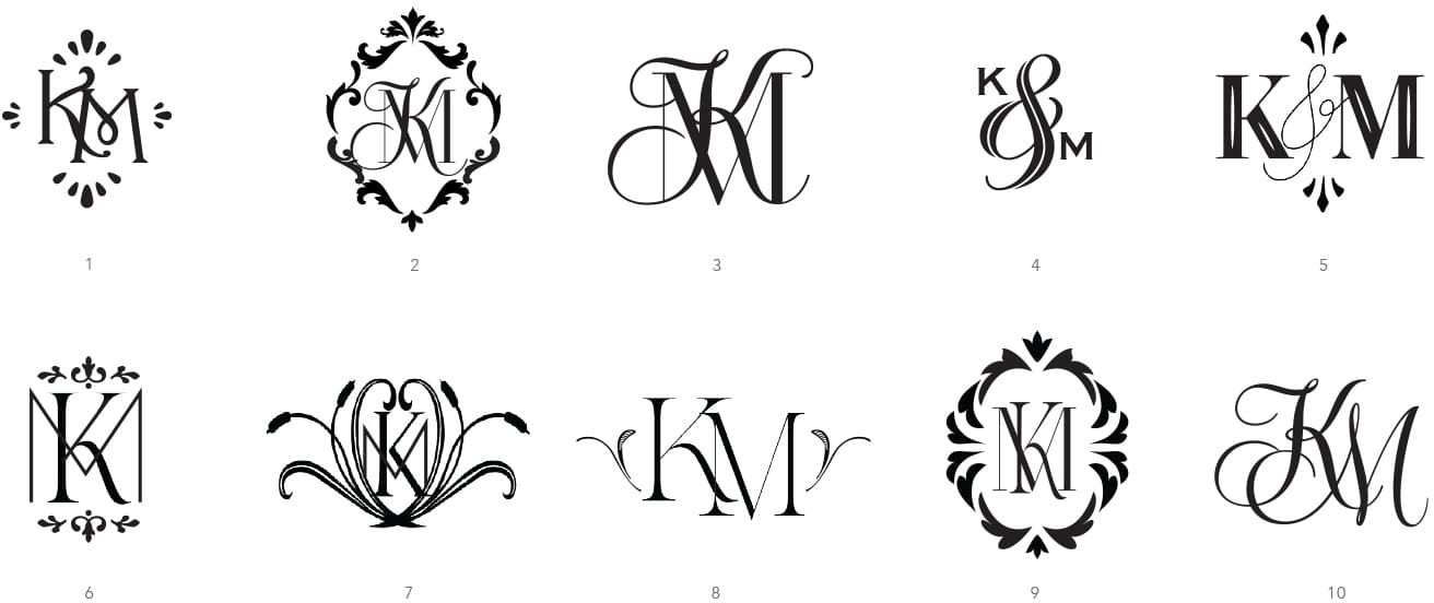 Modern monogram options