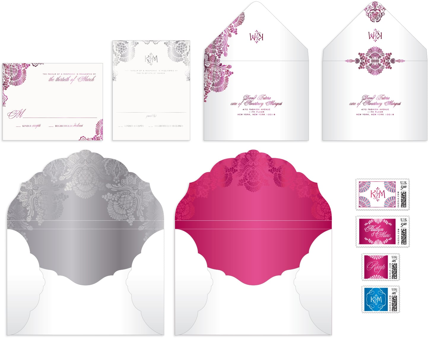 Pink and silver envelope designs