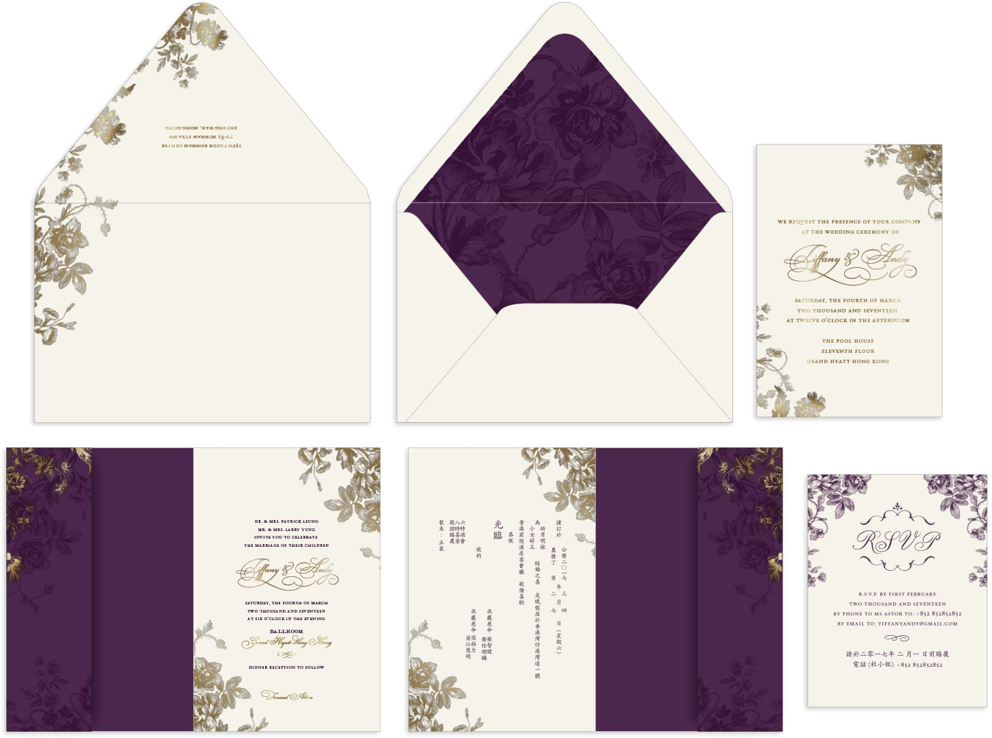 Purple and gold cards and envelopes