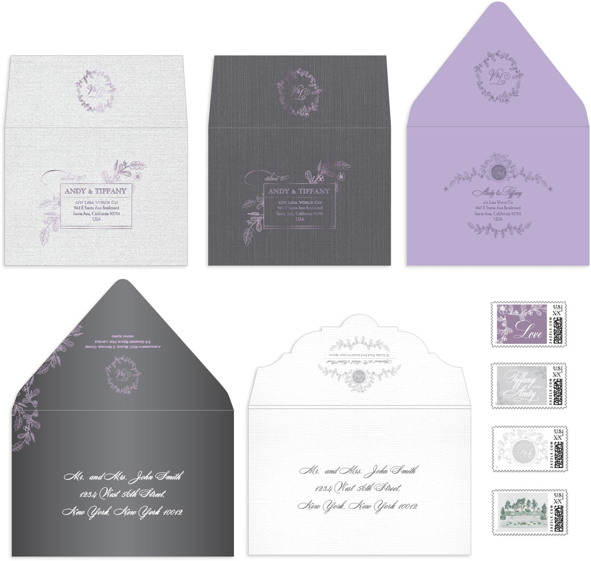 Rustic chic envelopes and stamps