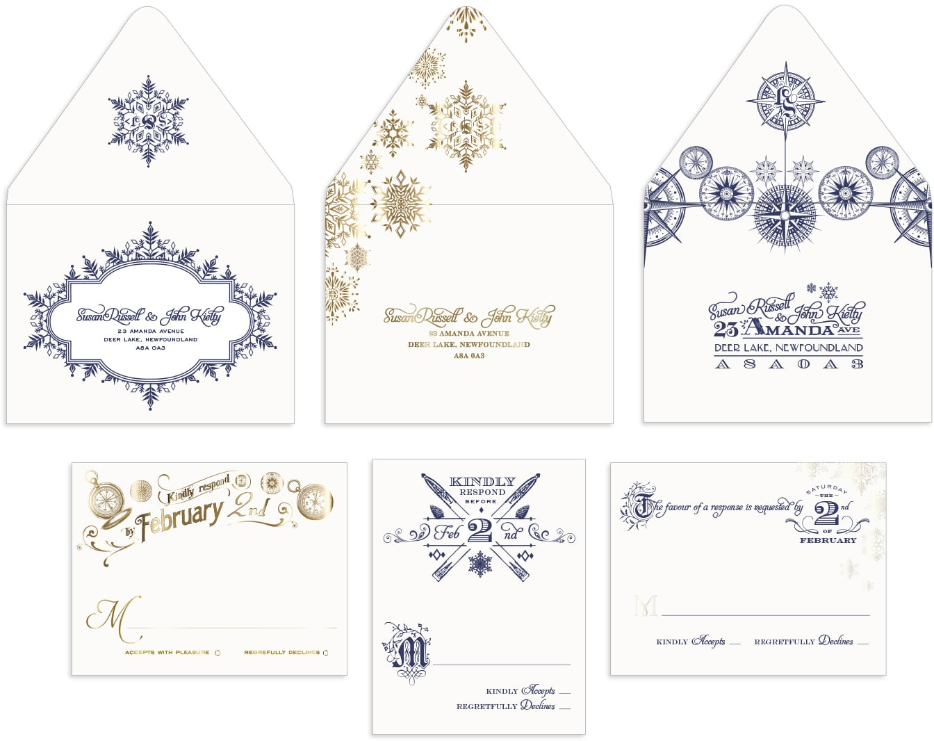 Snowflake and compass reply cards and envelopes