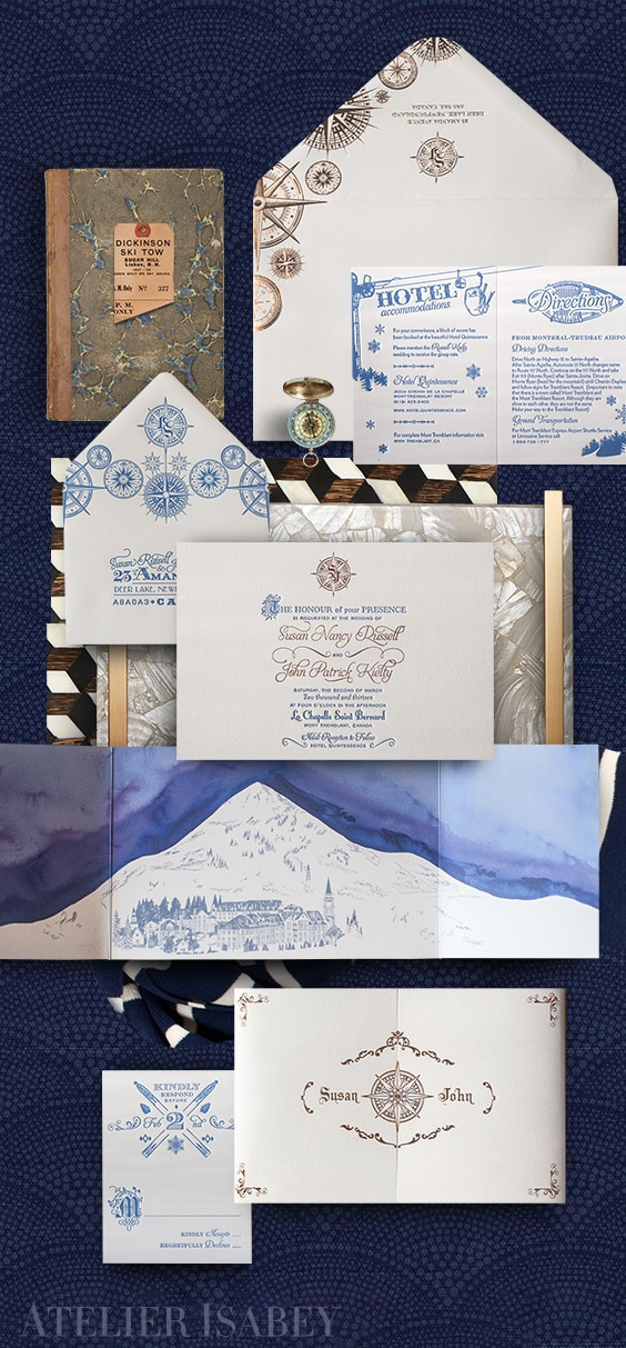 Mont Tremblant ski lodge wedding invitation | By Atelier Isabey