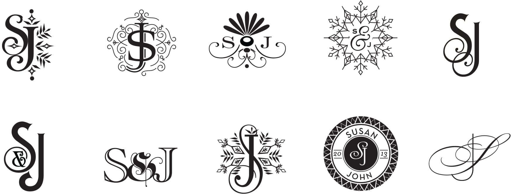 Snowflake and winter monograms