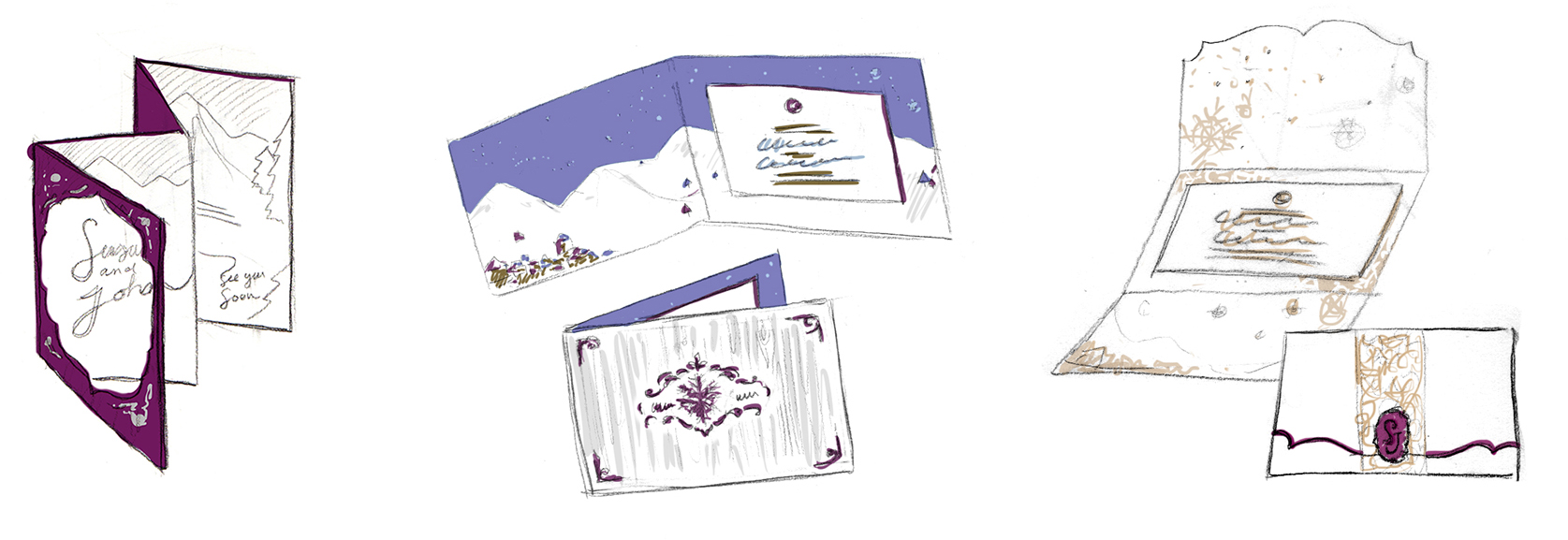 Winter wonderland wedding sketches