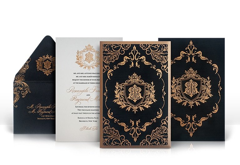 Black and gold laser cut wedding invitation