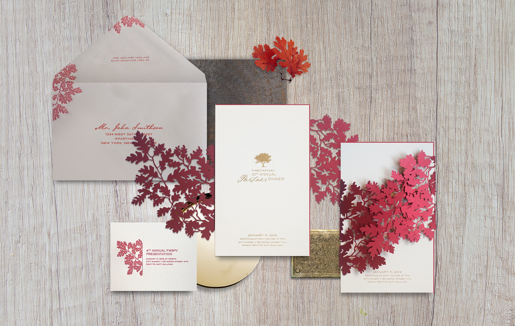 Laser cut maple leaf invitation