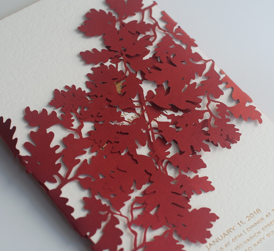 Laser cut red maple leaves