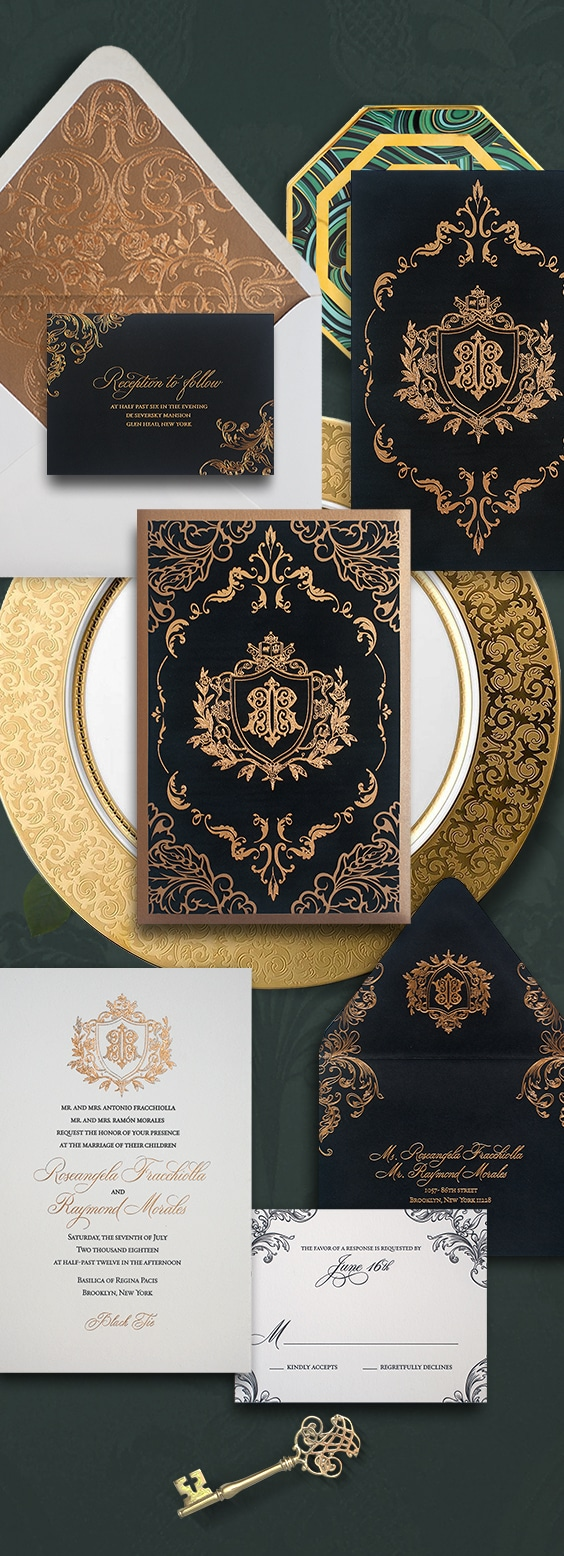 Ornate black and gold laser cut wedding invitation for a wedding at the De Seversky Mansion | By Atelier Isabey