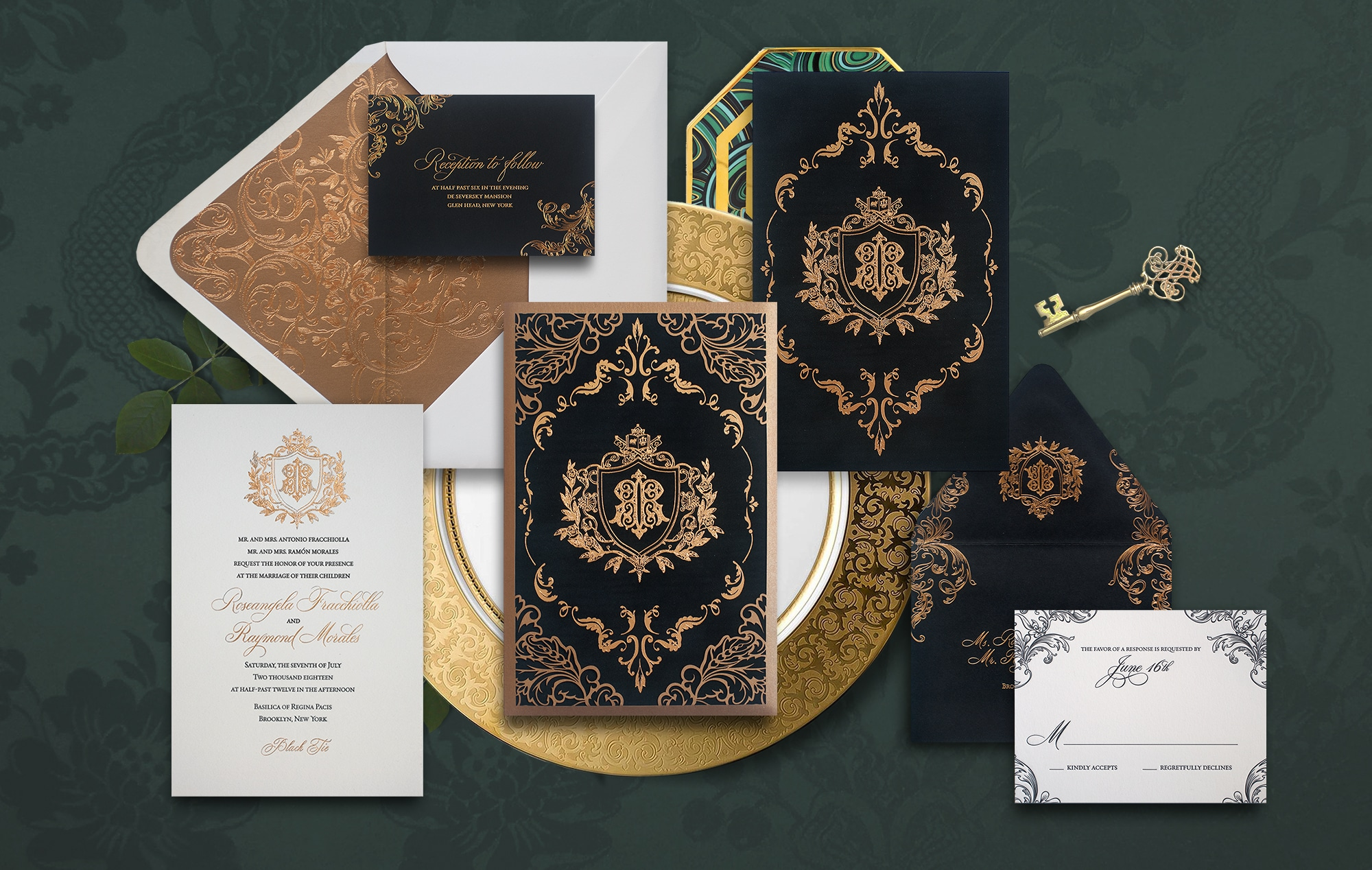 Ornate black and gold laser cut wedding invitation