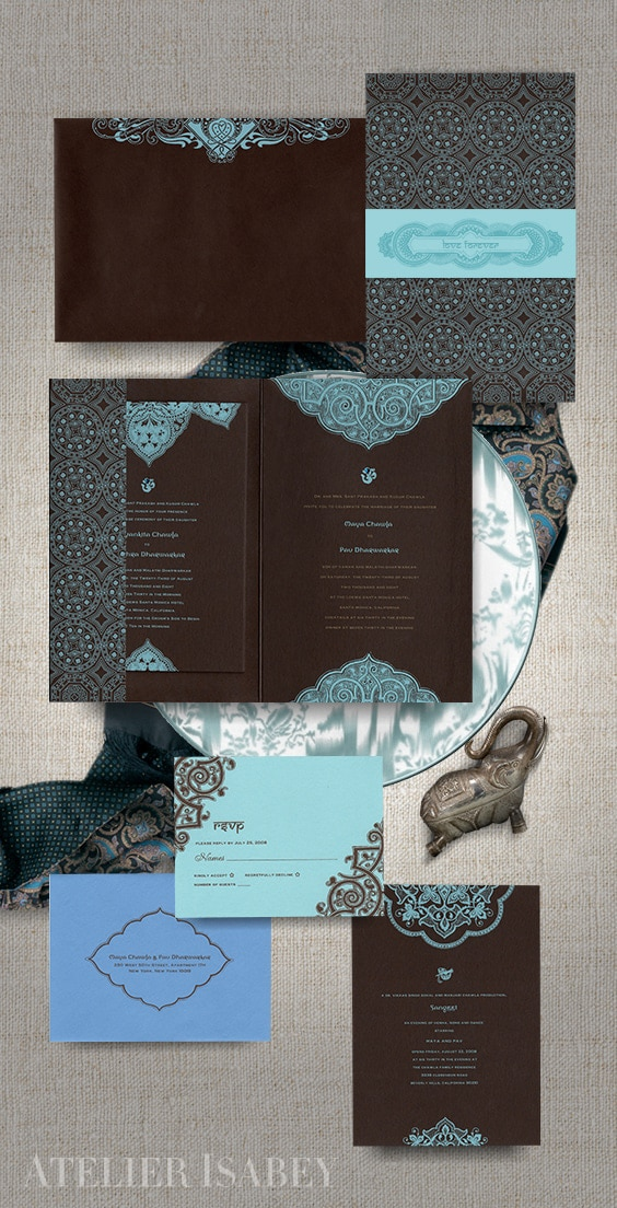 Modern meets traditional Indian wedding invitation