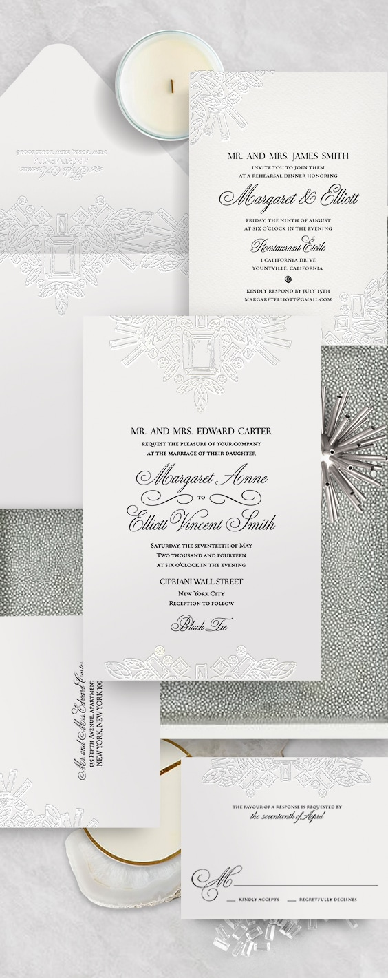 Winston diamond letterpress wedding invitation | By Atelier Isabey