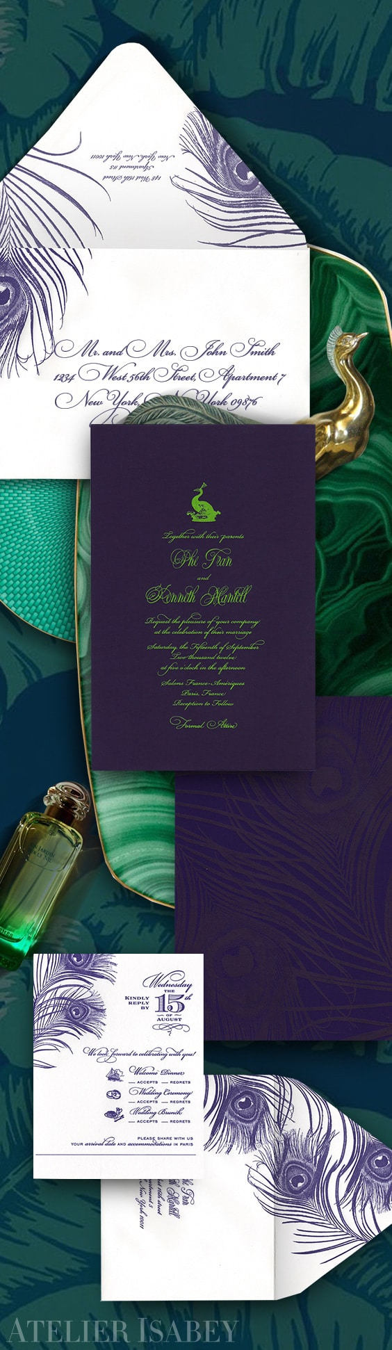 Peacock feather contemporary meets classic wedding invitation | By Atelier Isabey