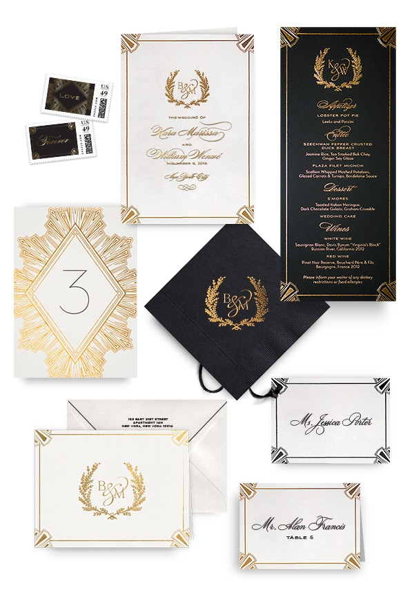 Deco gold napkins, table cards, escort and place cards
