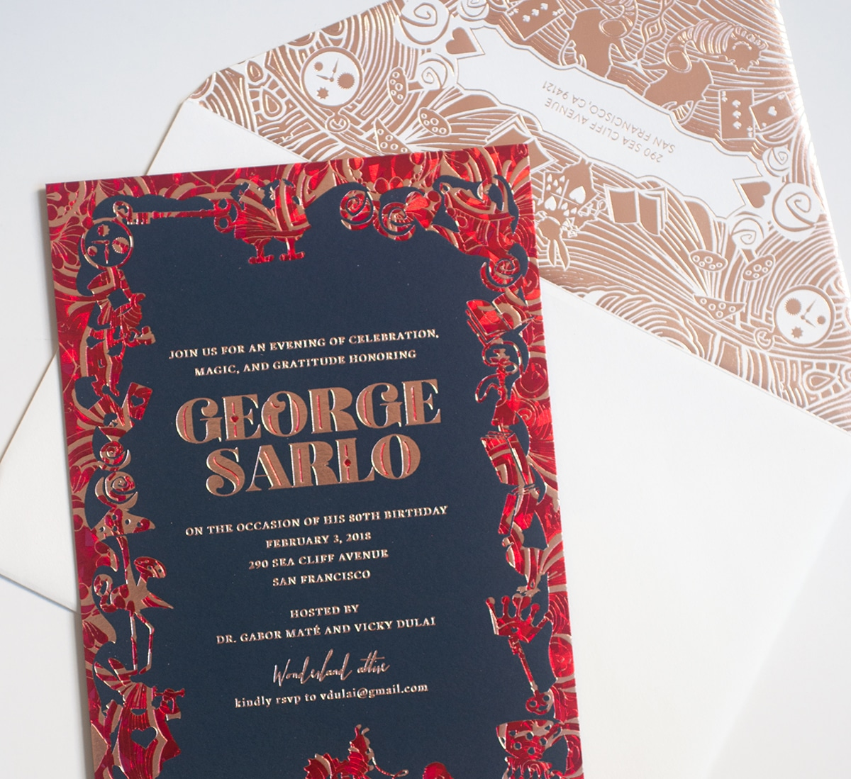 Red, rose gold and navy invitation