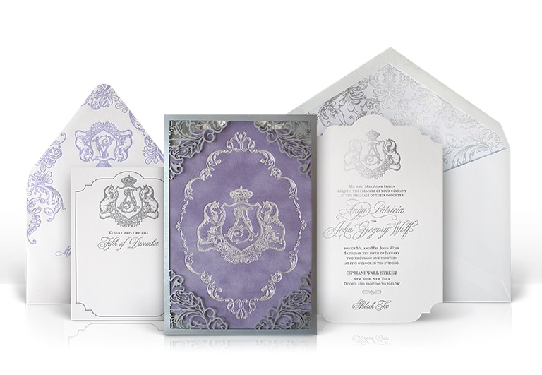Purple and silver laser cut wedding invitation
