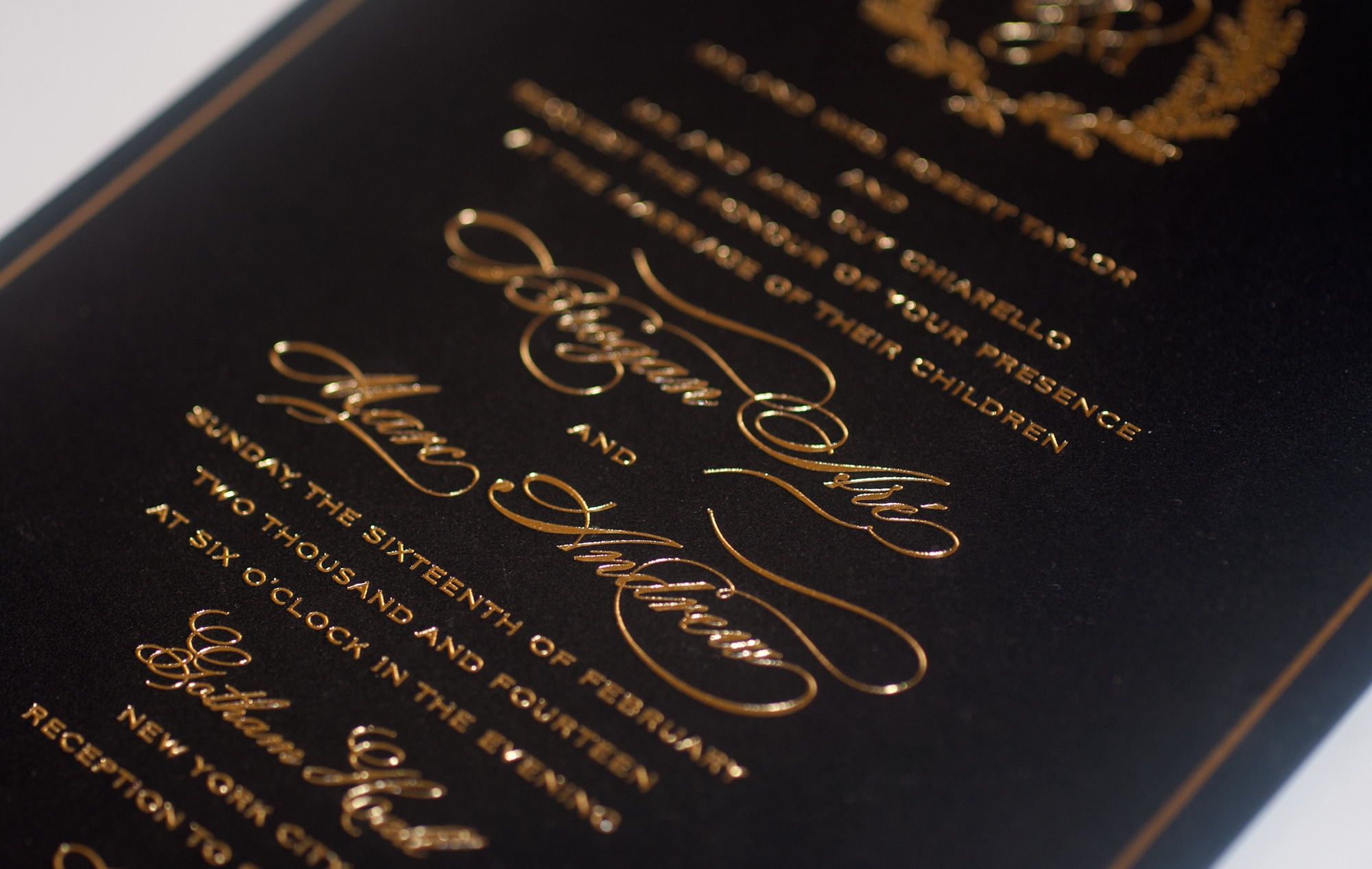 Gold foil calligraphy on black
