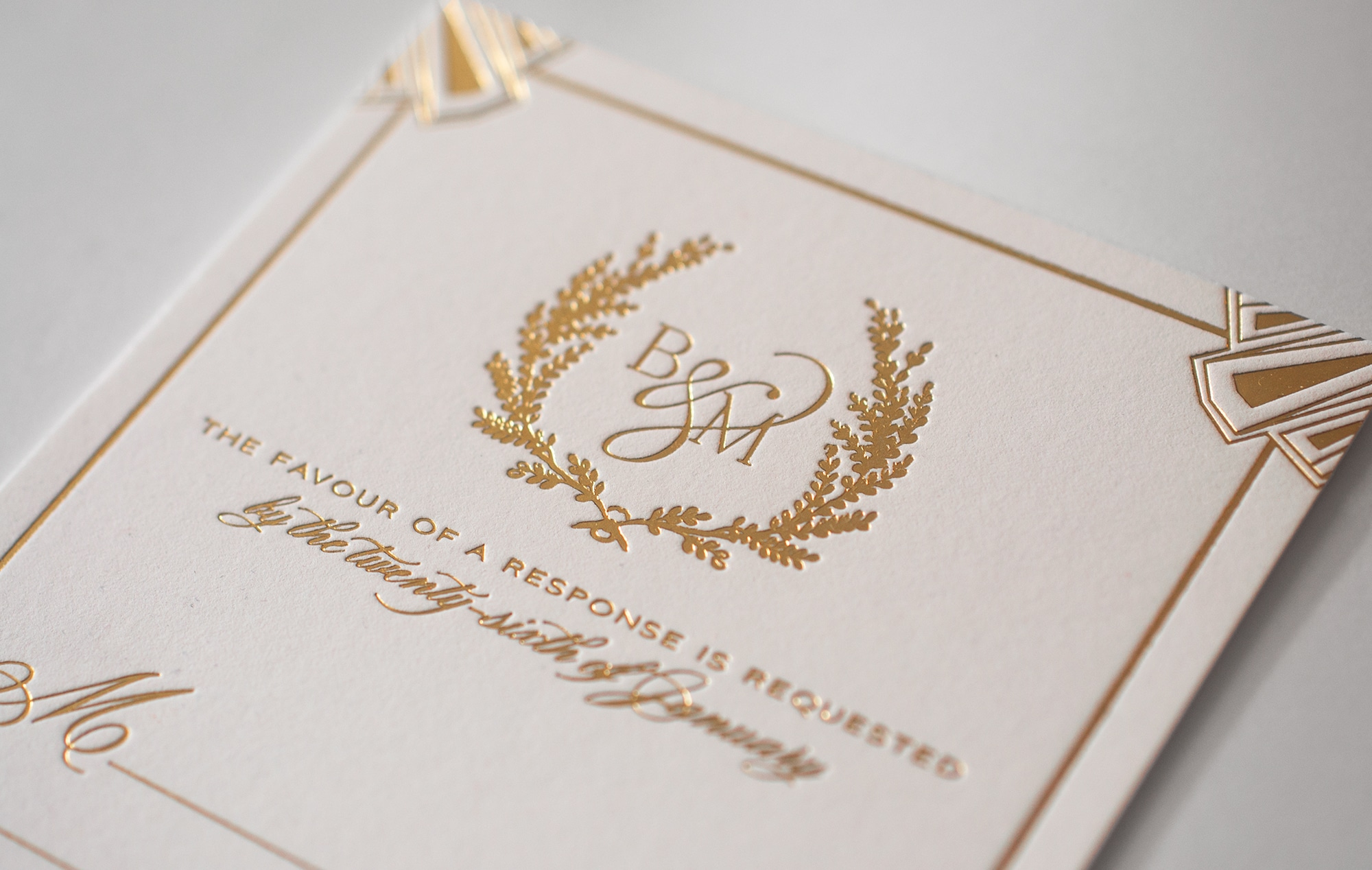 Gold art deco reply envelope