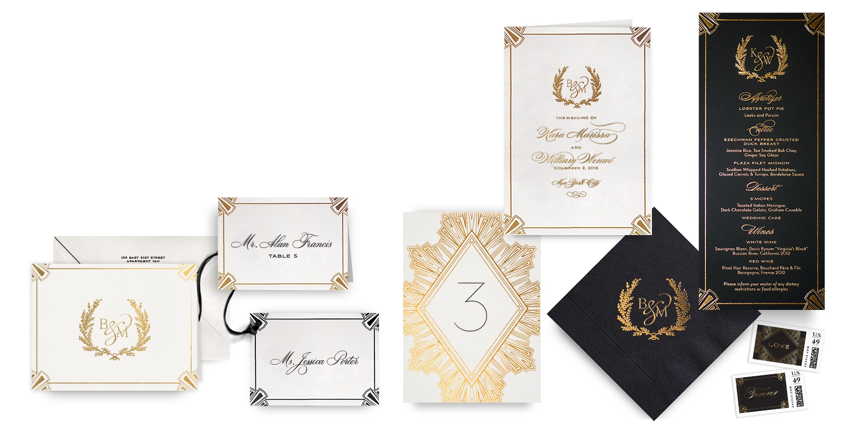 Ornate Deco menus, programs and wedding accessories