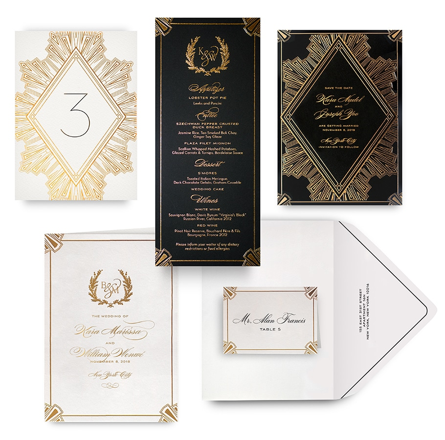 Deco gold save the date, menu, program and wedding accessories