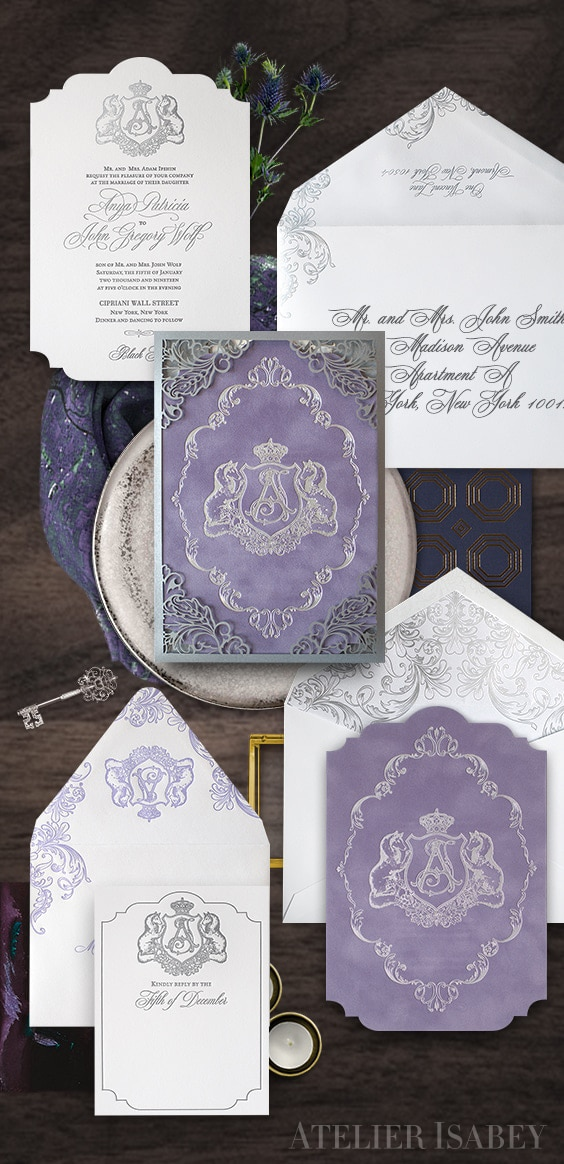 Fairytale inspired wedding invitation with purple velvet and silver laser cutting | By Atelier Isabey