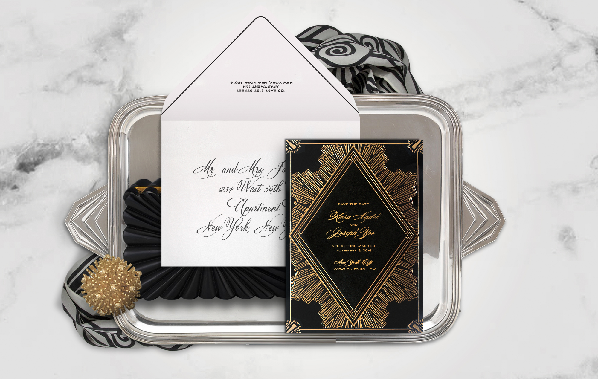 Gold and black Art Deco save the date