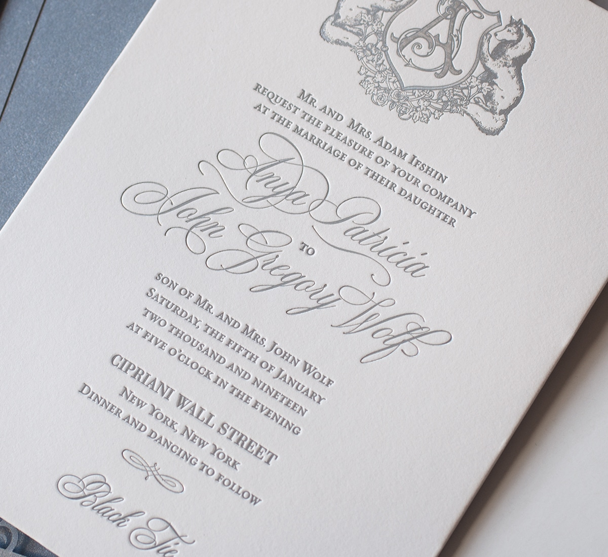 Letterpress and silver foil