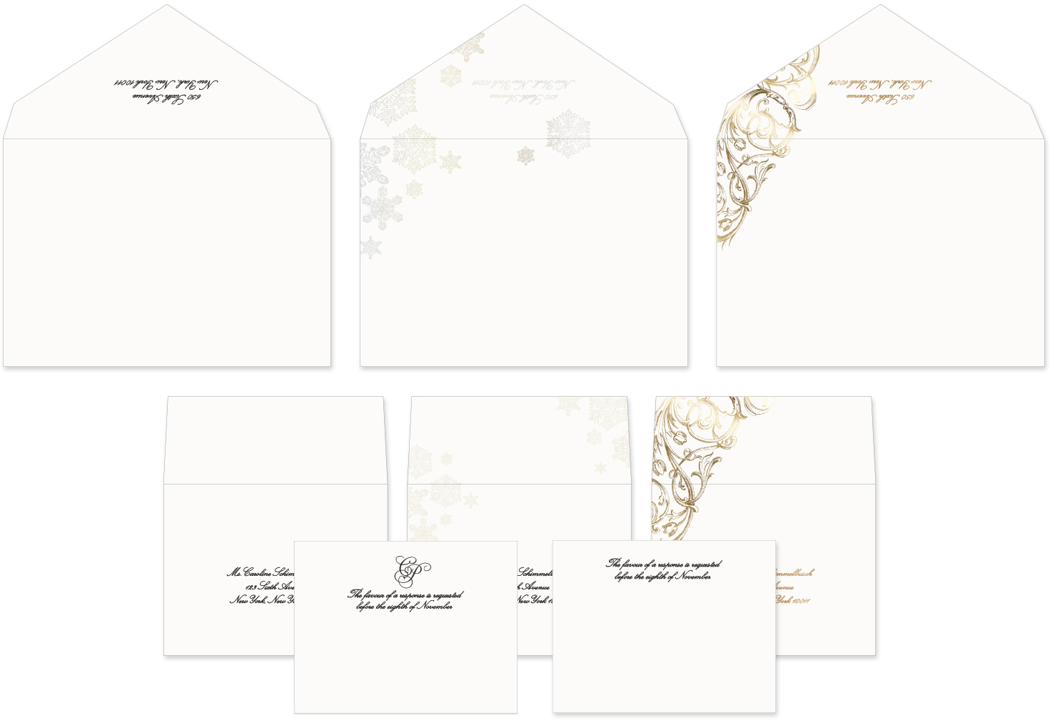 Matching ornate and winter inspired envelopes