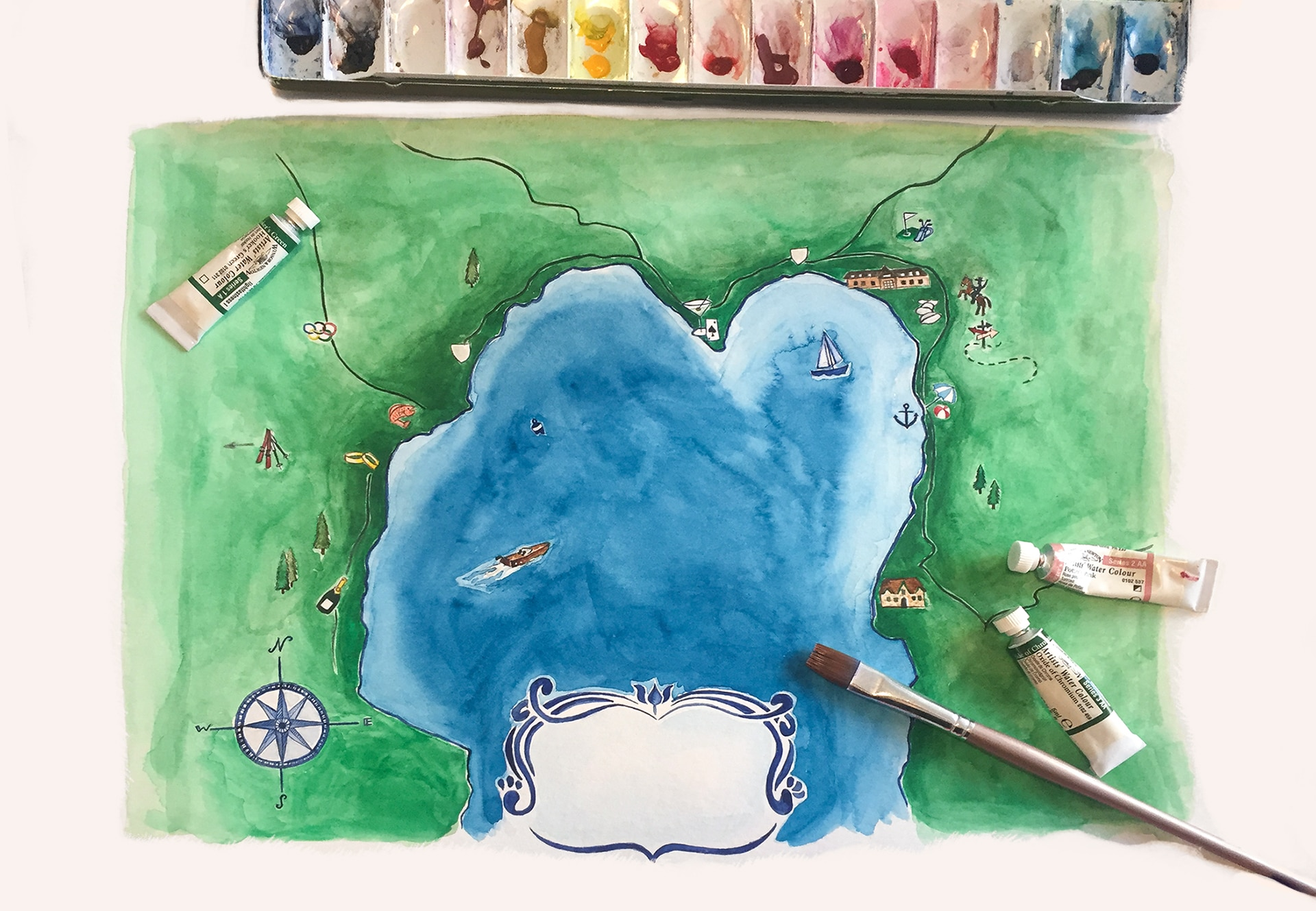 Watercolor map of Lake Tahoe