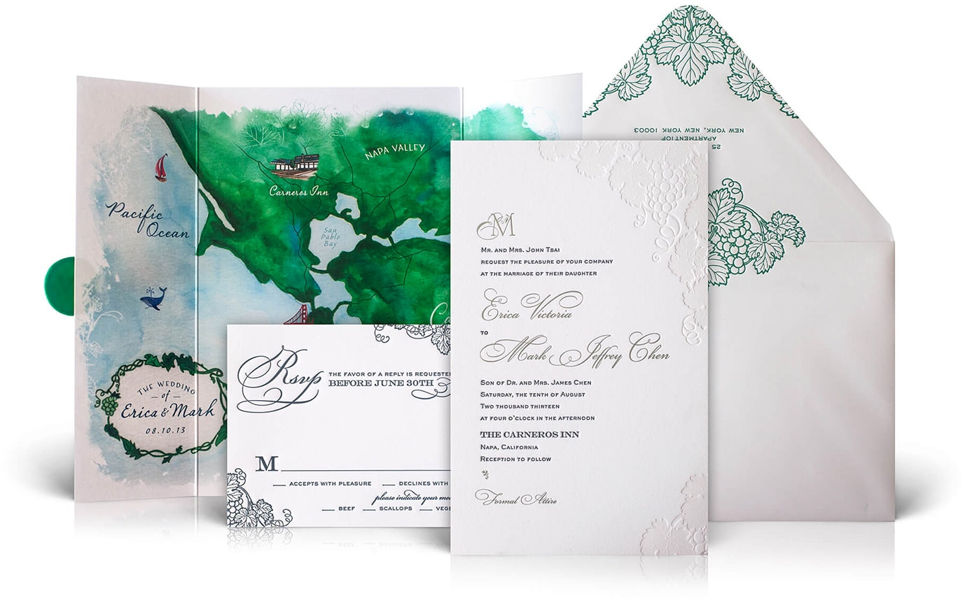 Napa Valley wedding invitations