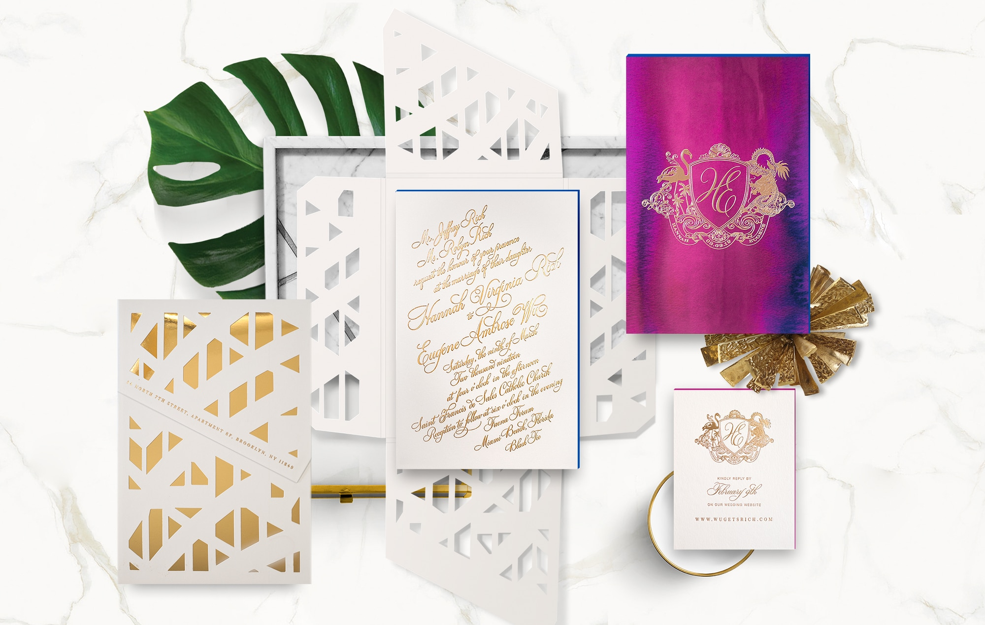 Faena Forum wedding invitation