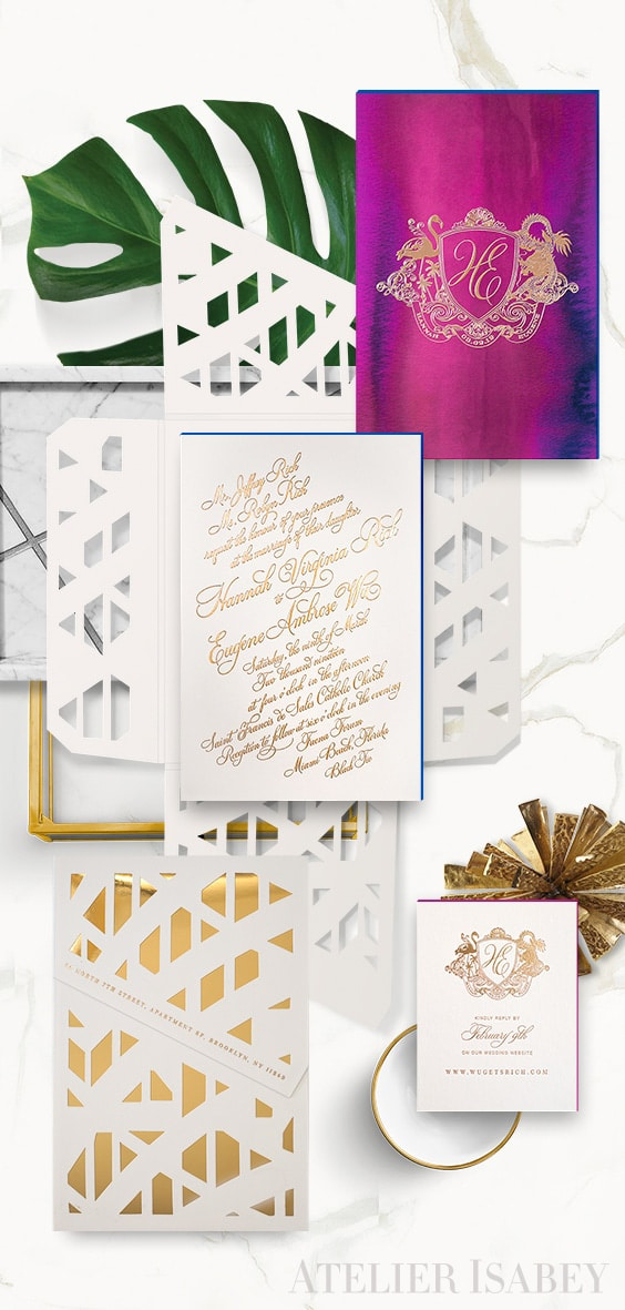 Faena Forum inspired wedding invitation with calligraphy, watercolor and gold foil | By Atelier Isabey