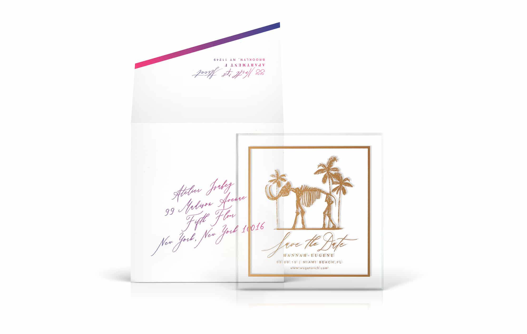 Faena mammoth inspired wedding save the date