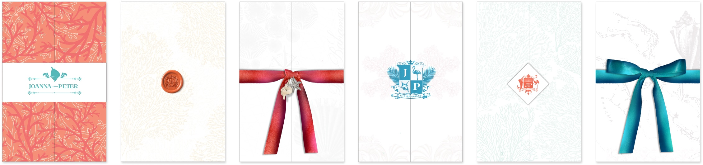 Beach chic invitation folders