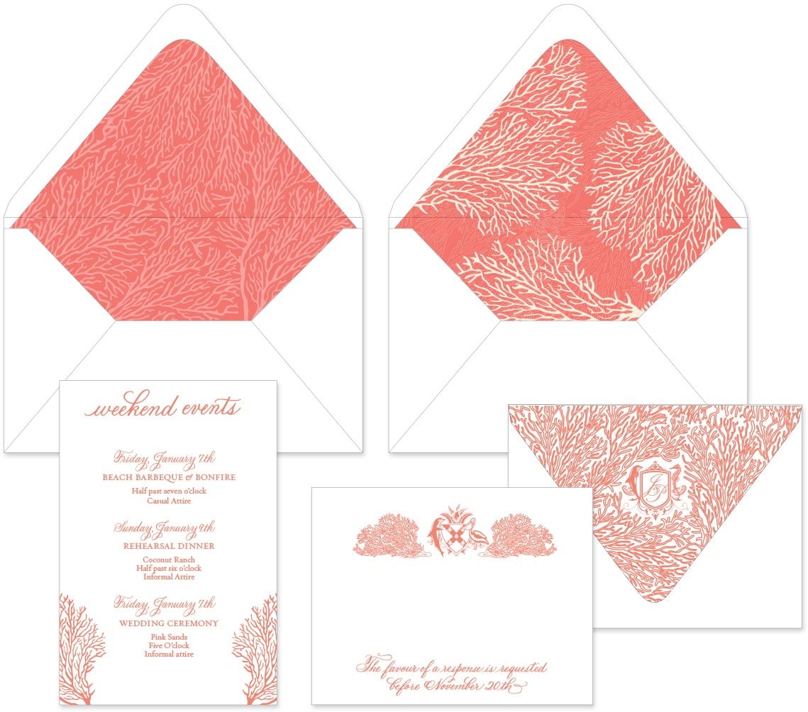 Coral print wedding invitation