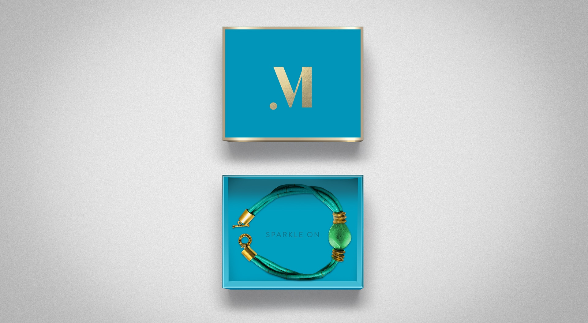 Teal and gold packaging design