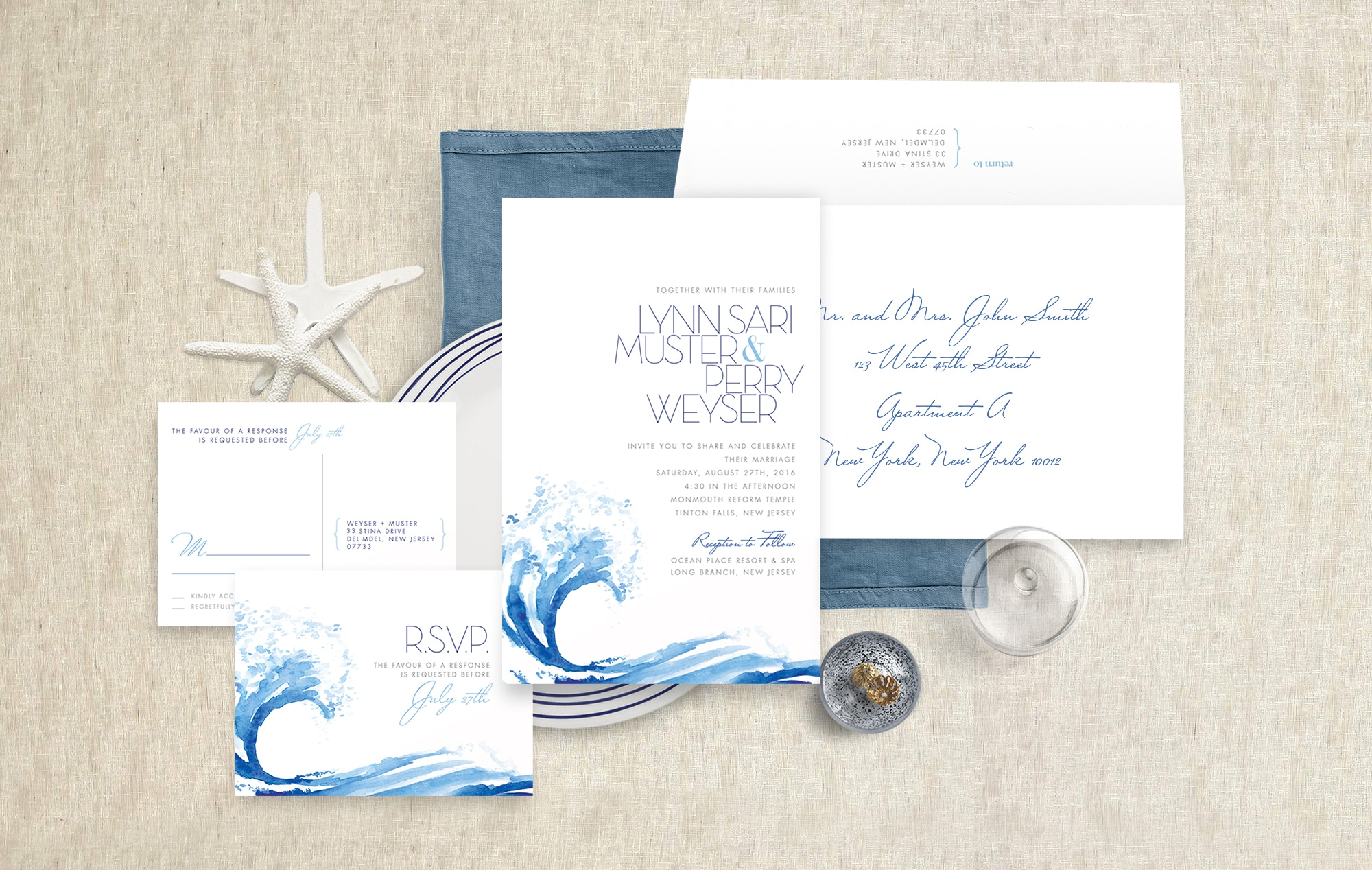 Ocean wave wedding invitation
