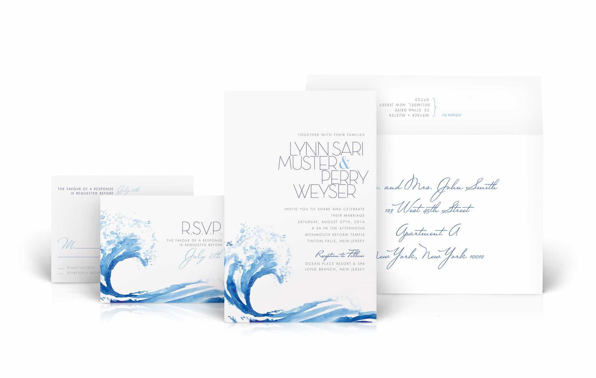 Watercolor wave wedding invitation