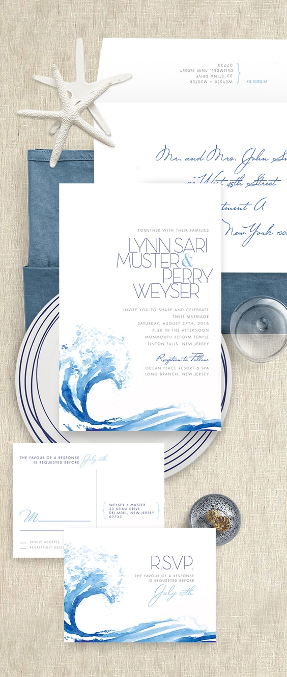 Ocean wave wedding invitation with watercolor details | By Atelier Isabey