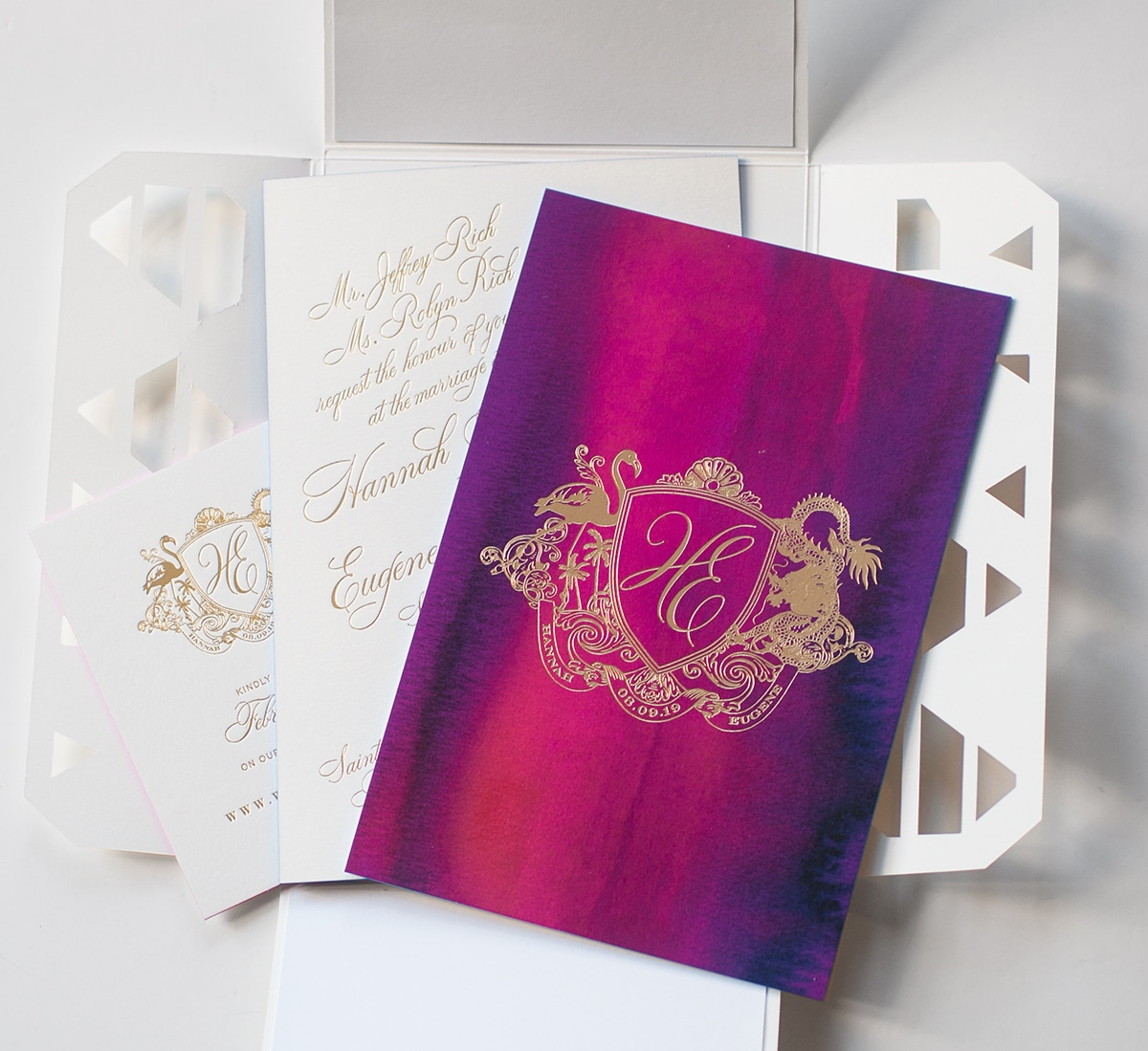 Watercolor and gold foil invitation suite