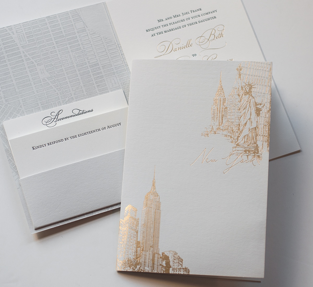 Gold and grey NYC invitation