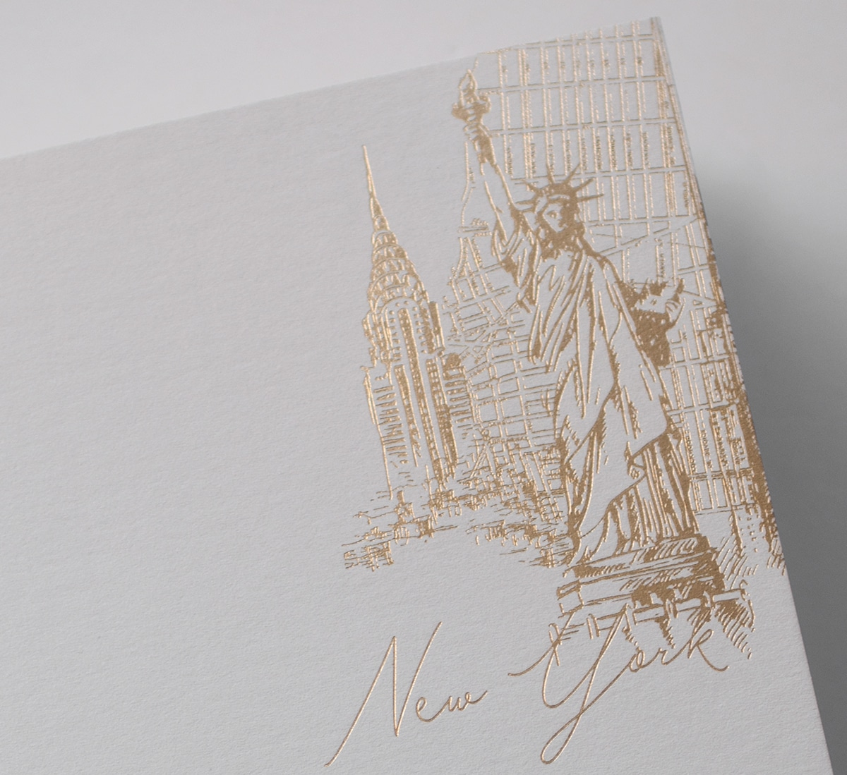 Gold foil with New York landmarks