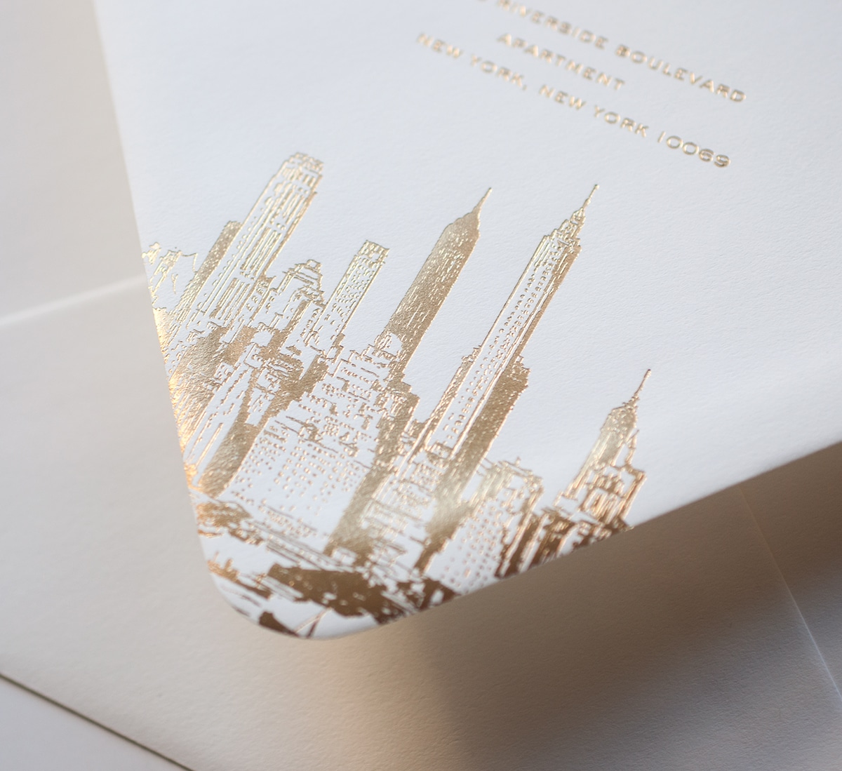 Gold NYC skyline envelope