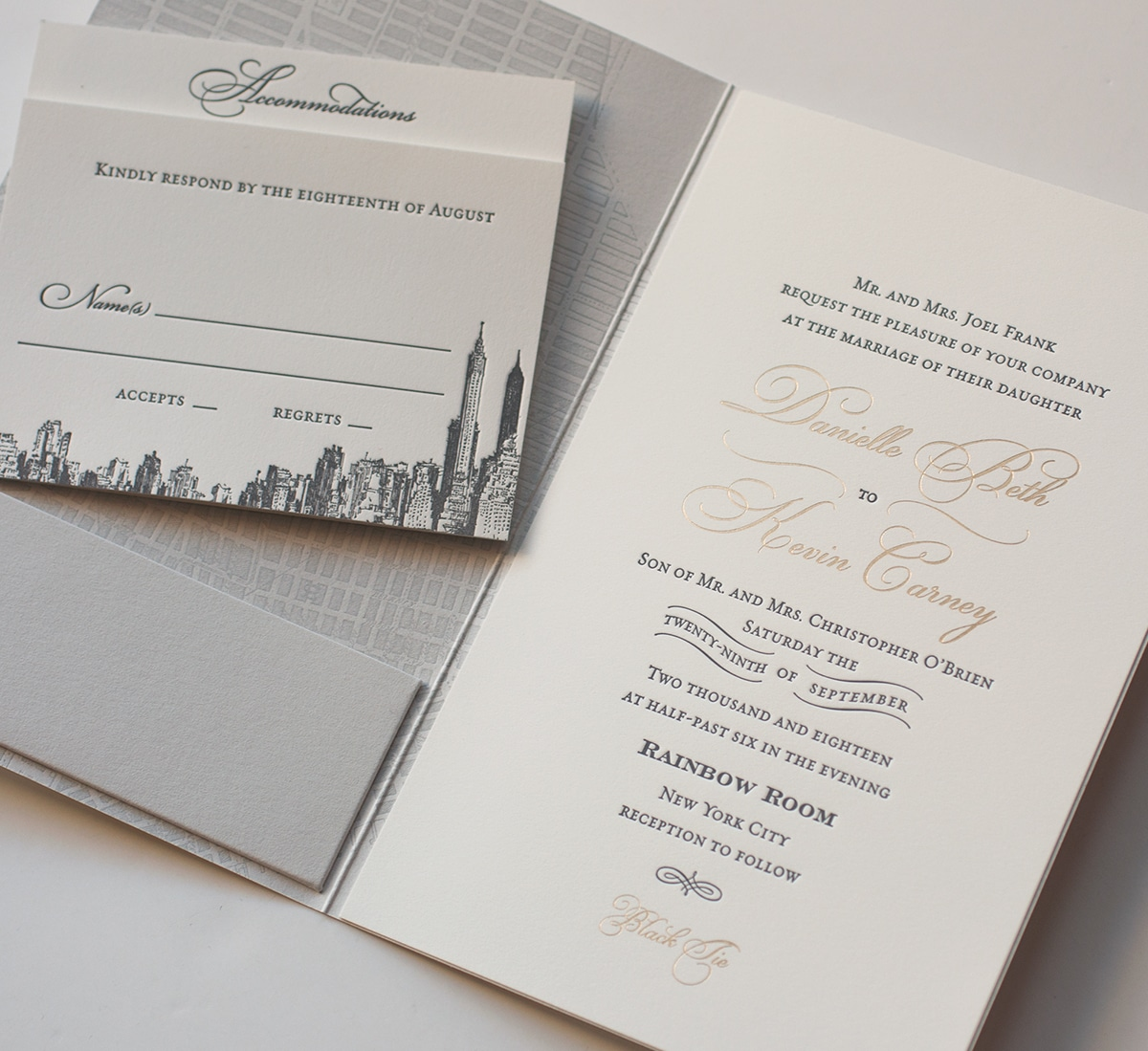 Gold foil and letterpress NYC wedding invitation